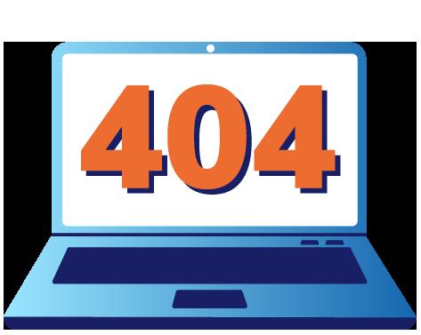 404 error displayed on illustration of laptop