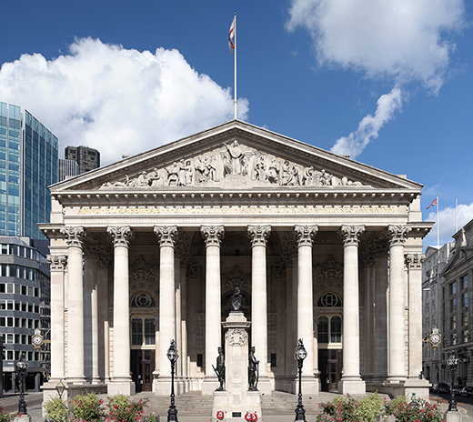 The Royal Exchange building in London
